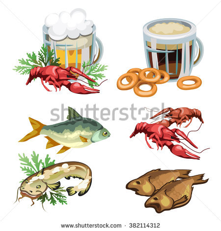 stock-vector-set-of-products-for-consumption-of-beer-and-kvass-dried-river-fish-and-crayfish-vector-382114312